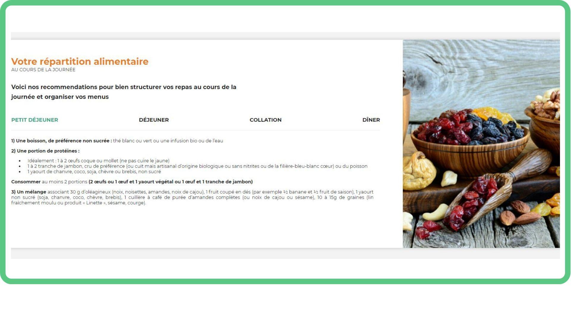 proposition de menus personnalisés - Evonutri